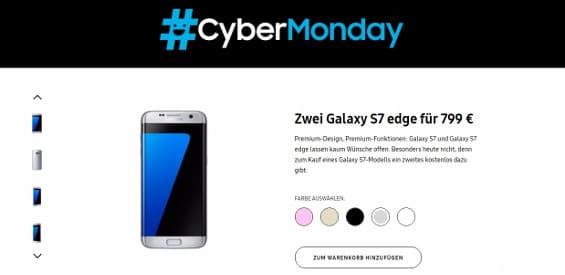 Samsung Cyber Monday Angebot für das Galaxy S7 edge