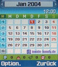 Samsung D500 - Display Kalender Monatsübersicht