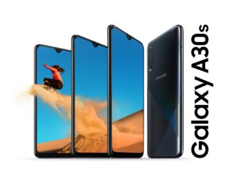 Samsung Galaxy A30s mit Wüstenmotiv auf dem Display