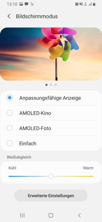 Die Display-Einstellung des Galaxy A40