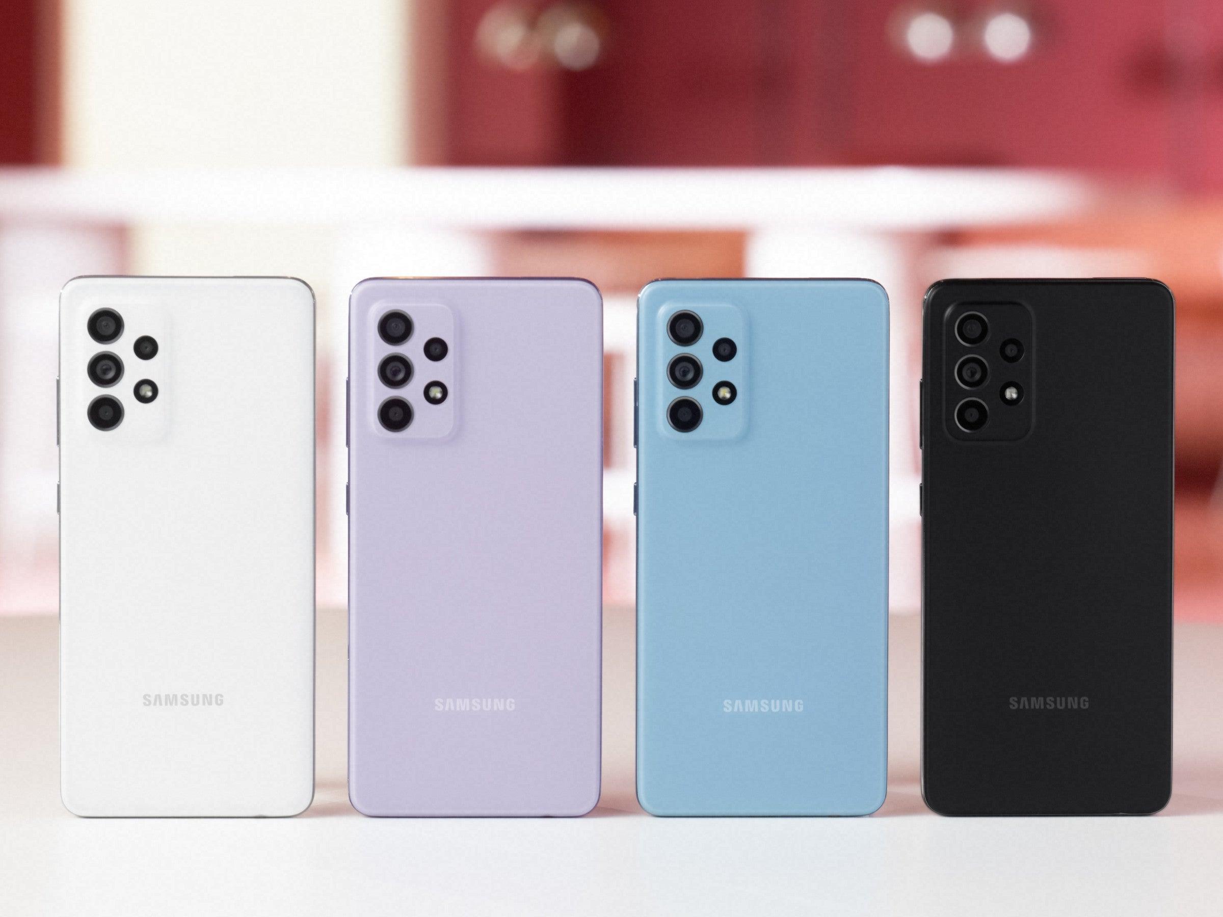 Samsung Galaxy A52 in vier Farben
