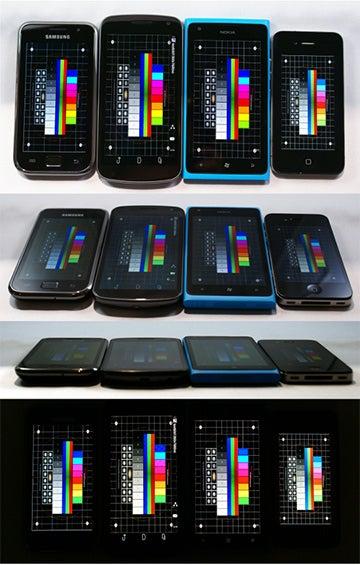 Samsung Galaxy S Plus, Galaxy Nexus, Lumia 900 und ein iPhone 4 im Display-Vergleich