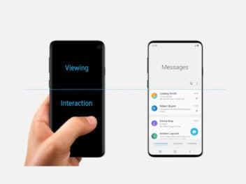 Das Samsung Galaxy S10 vor weißem Grund