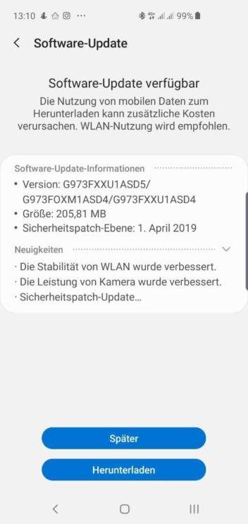 Samsung Galaxy S10 April-Update