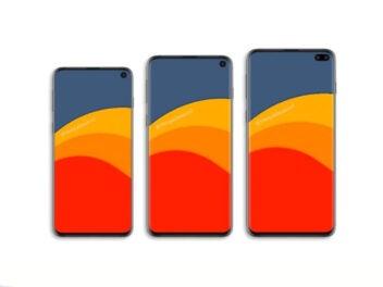 Drei Smartphones auf weißem Grund: Samsung Galaxy S10 Lineup: Galaxy S10 Lite, Galaxy S10 und Galaxy S10 Plus
