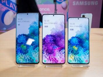 Samsung Galaxy S20, S20+ und S20 Ultra nebeneinander