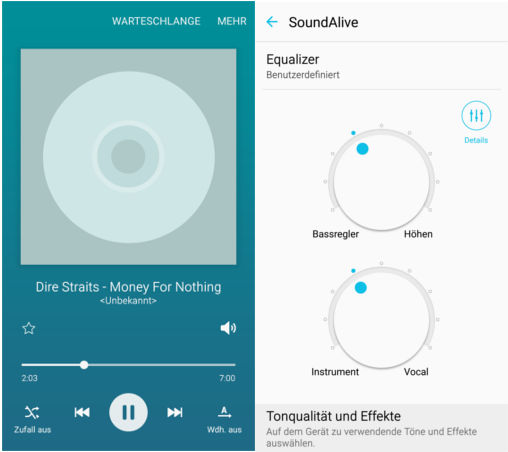 Samsung Galaxy S6 Musik-Player