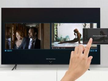Samsung QLED-Fernseher 2020 mit Smartphone