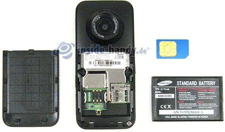 Samsung SGH-E590: offenes Gerät hinten
