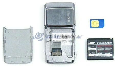 Samsung SGH-G800: offenes Gerät hinten