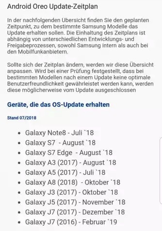 Samsungs Update-Liste