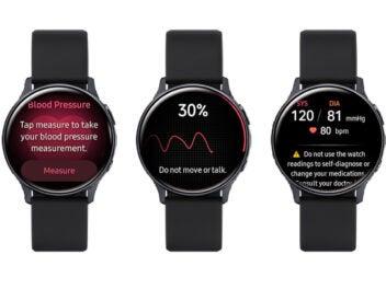 Screenshots der Blutdruckmessung und EKG-Erstellung auf der Galaxy Watch von Samsung