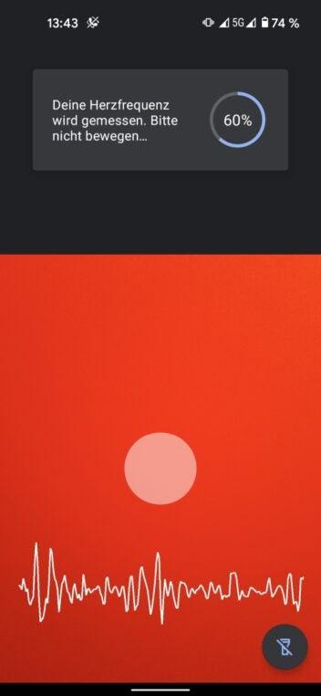 Herzfrequenzmessung mit der Google Fit App auf dem Pixel 5