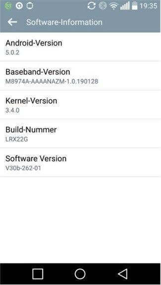 Screenshot Lollipop-Update LG G2 Telekom