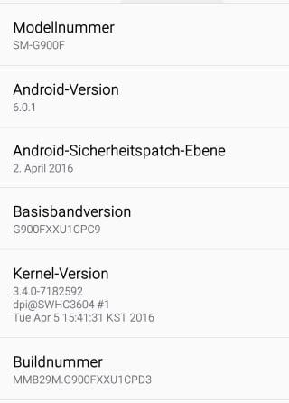 Screenshot Samsung S5 Android 6.0.1 Marshmallow
