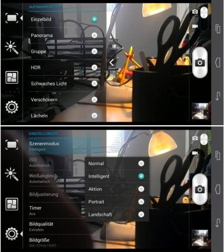Screenshot vom Kamerainterface des Huawei Ascend Mate