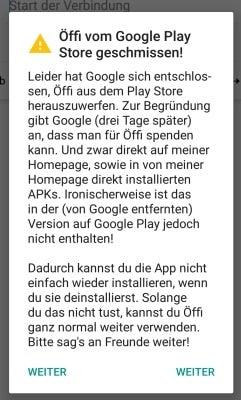 Screenshot zur App-Sperre von Öffi