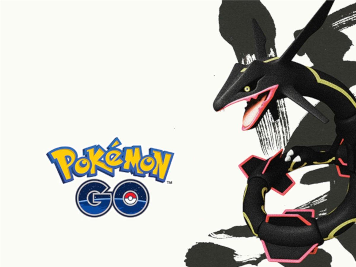 Pokémon Go Schriftzug und shiny Rayquaza