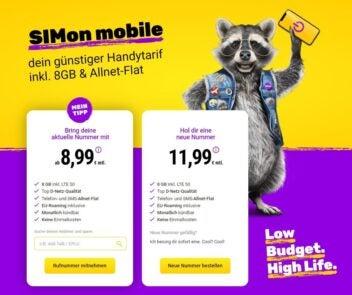SIMon Mobile Webseite mit Tarifauswahl