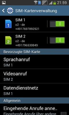 SIM-Verwaltung des Samsung Galaxy S Duos 2