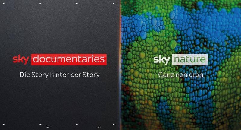 Logos von Sky Documentaries und Sky Nature