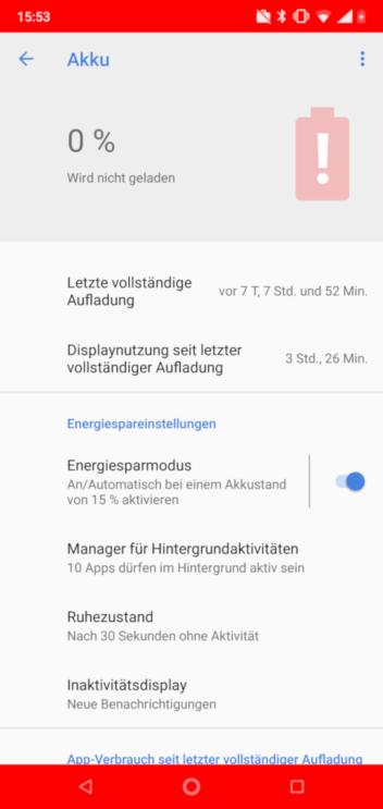 Screenshot des Nokia 7.1 mit 0 Prozent Akkuladung und roten Balken