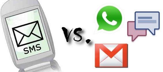 SMS versus WhatsApp Google Mail und Facebook Chat