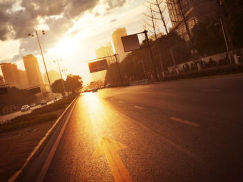 Straße, Sonnenaufgang, Stadt