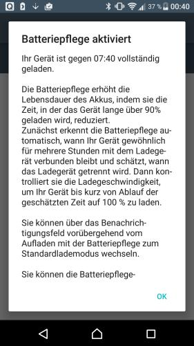 Batteriepflege in Sony-Smartphone
