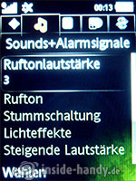 Sony Ericsson S500i: Sounds und Alarmsignale