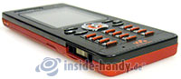 Sony Ericsson W880i: Draufsicht links unten