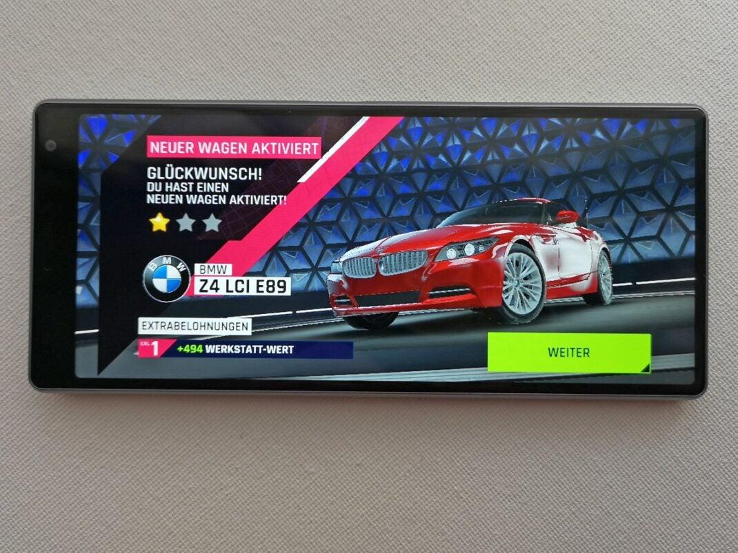 Sony Xperia 10 Plus im Gaming-Modus mit dem Spiel Asphalt 9.