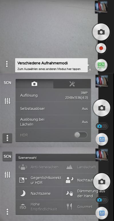 Sony Xperia E1: Kamera-Optionen