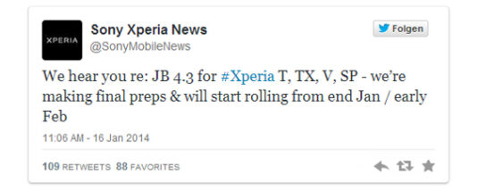Sony Xperia T, V und SP: Update auf Android 4.3 Jelly Bean Twitter