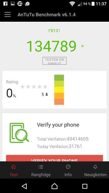 Sony Xperia X Performance Benchmark-Test