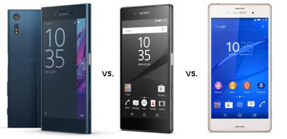 Sony Xperia XZ, Xperia Z5 und Xperia Z3 im Vergleich