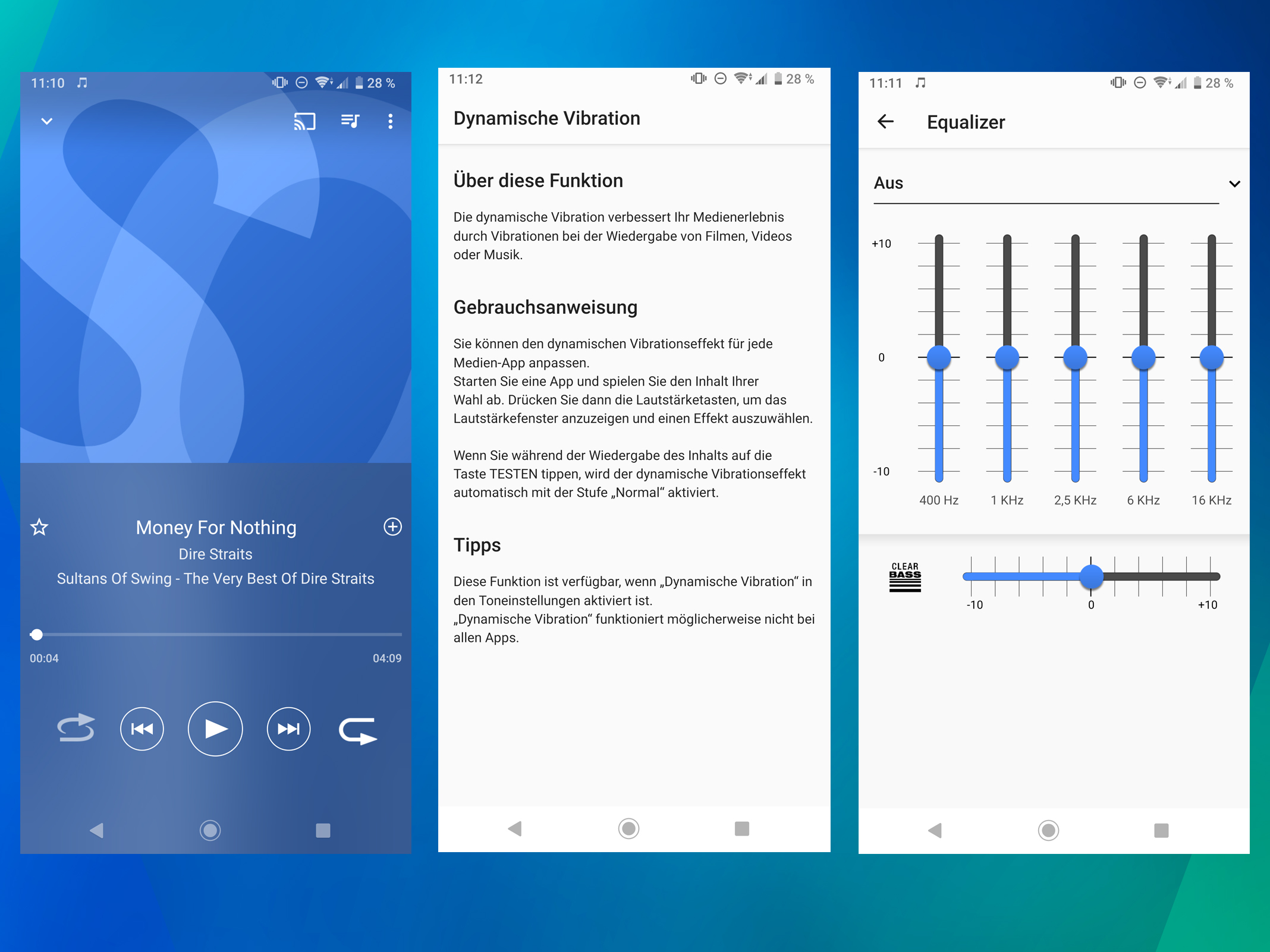 Audioeinstellungen des Sony Xperia XZ3