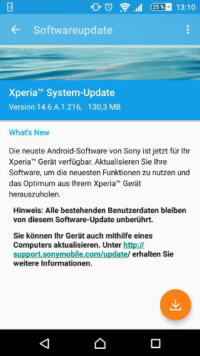 Sony Xperia Z1 Compact Firmware-Update
