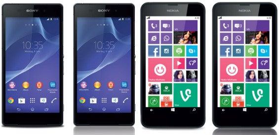 Sony Xperia Z2 und Nokia Lumia 630 bei base
