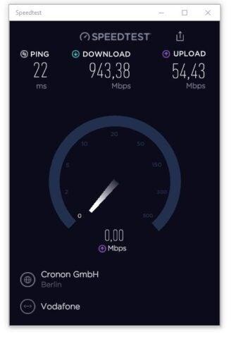 Ein Speedtest über eine Vodafone-Gigabit-Leitung