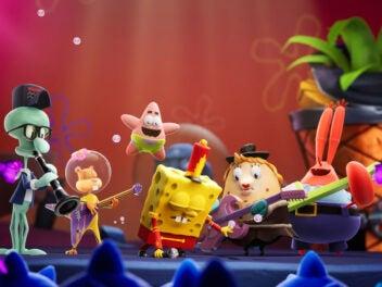 SpongeBob Schwammkopf gemeinsam mit seinen Freunden auf einer Bühne.