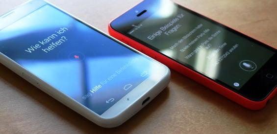 Sprachsteuerungen auf dem Motorola Moto X und dem iPhone 5c