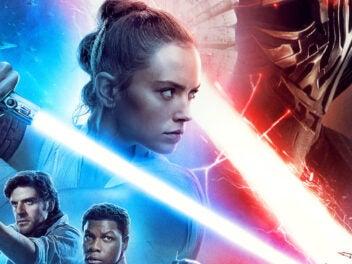 Star Wars Filmplakat mit Lichtschwertern, Rey, Finn und Poe
