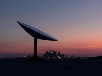 Eine Starlink-Satelliten-Antenne