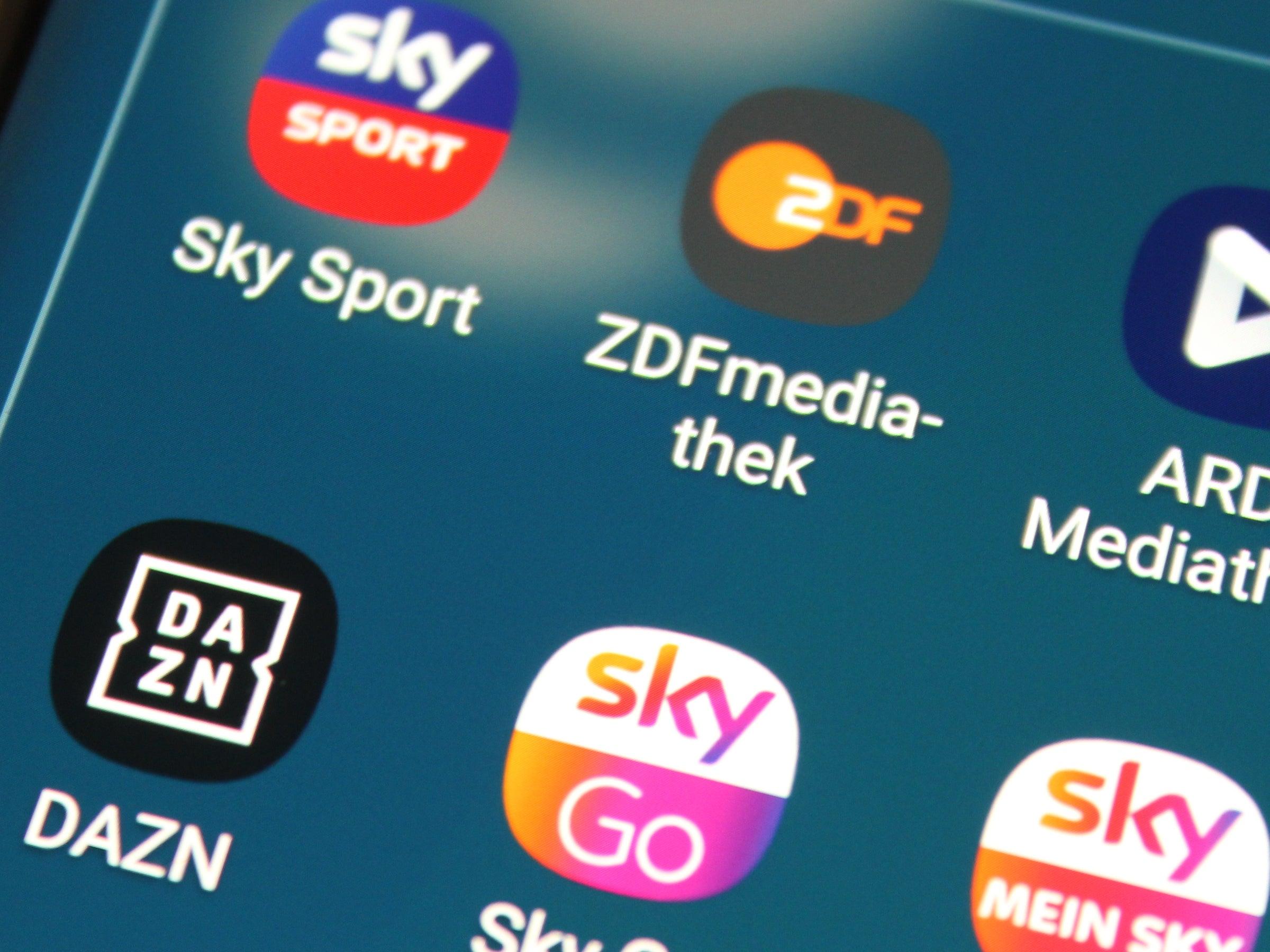 Apps von Sky, DAZN, ZDF und ARD