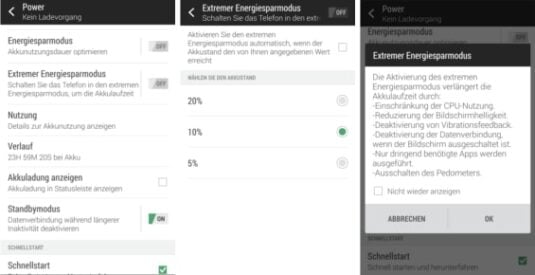 Stromsparfunktionen des HTC One M8