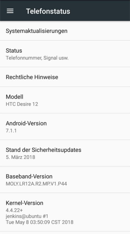 Telefonstatus des HTC Desire 12
