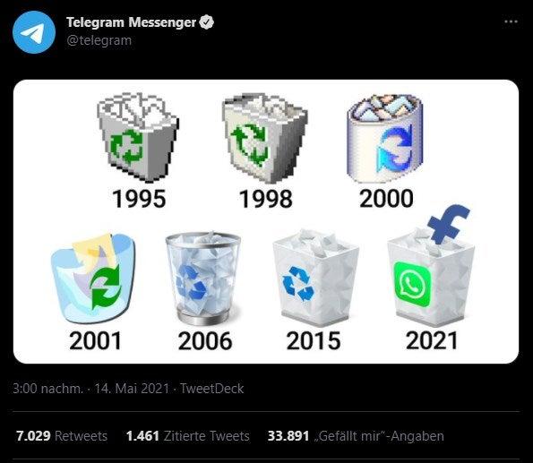 Telegram greift WhatsApp über Twitter an