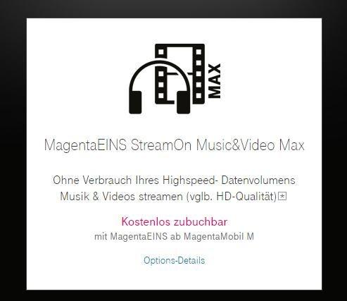 Telekom StreamOn mit MagentaEins