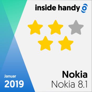 vier Sterne im Testsiegel des Nokia 8.1